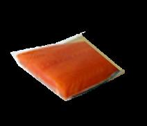 Norwegischer Lachs mit Haut, Filet, kalt geräuchert auf Goldbrett, 500g