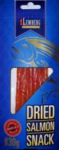 Snack aus Lachs, getrocknet, gesalzen in Streifen, 30g