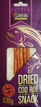 Snack aus Dorschrogen, getrocknet, gesalzen in Streifen, 30g