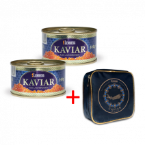 Set: Gorbuscha - Lachskaviar, 2 x 140g, Alaska Gold + 1 x Kühltasche klein