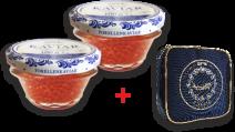 SET: Lachsforellenkaviar Aquakultur 2 x Glas 100g  + 1 x  Kühltasche klein
