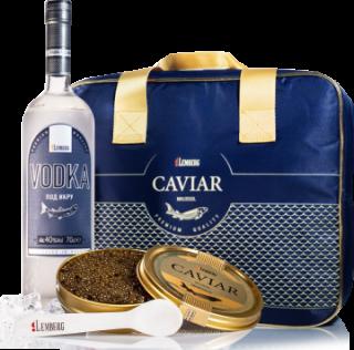 Kaviar & Vodka in einer Kühltasche