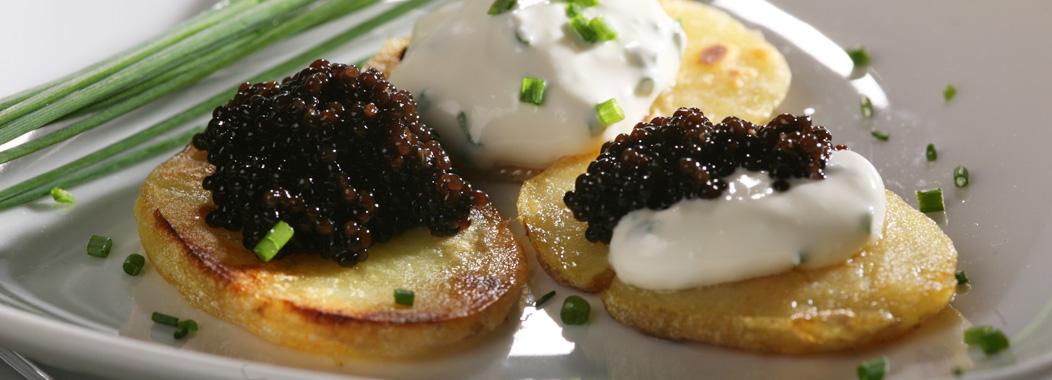 Kartoffeln mit Störkaviar