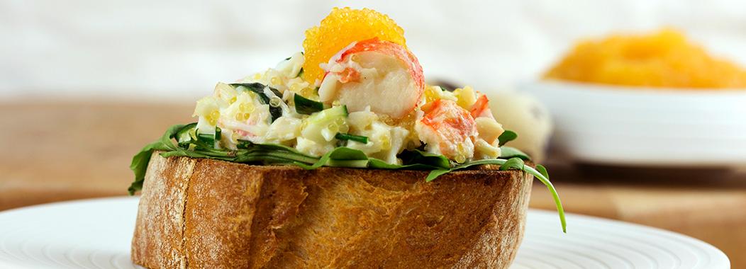 Bruschetta mit Krabben- und Hechtkaviar