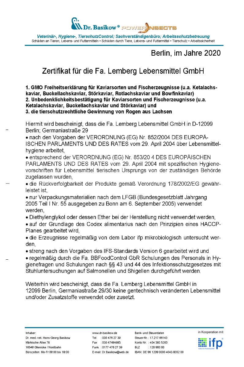 Zertifikat HACCP Lemberg